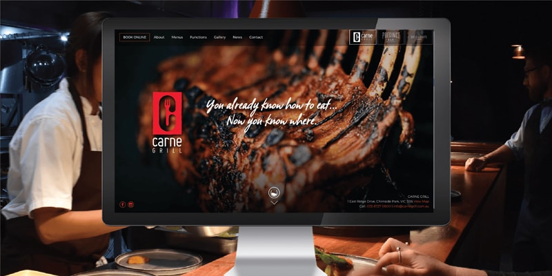 Project - Carne Grill Restaurant website - Eastridge Entertainment Precinct